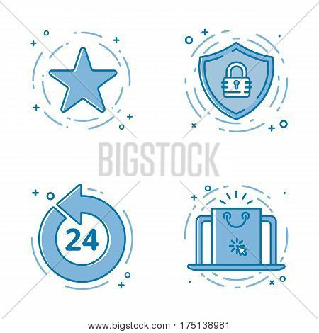 Vector illustration set of flat bold line icons with star - favorite sign, shield - web security, 24 7 , laptop whit screen. Graphic design concept of e - commerce. Blue outline isolated object.