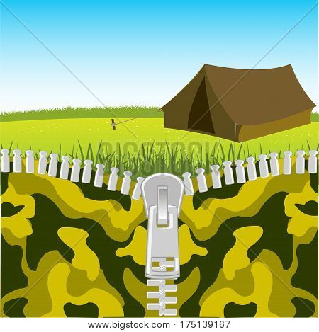 Clasp on camouflage fabrics openning nature.Vector illustration