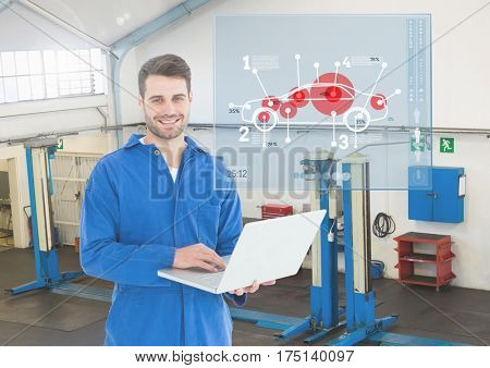 Digital composition of happy automobile mechanic holding laptop and mechanic interface