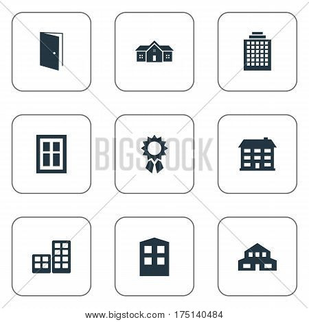 Vector Illustration Set Of Simple Structure Icons. Elements Construction, Residence, Residential And Other Synonyms House, Apartment And Offices.