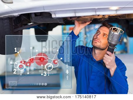 Digital composition of automobile mechanic working in garage and mechanic interface