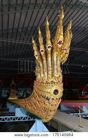 BANGKOK, THAILAND - DECEMBER 12, 2016: The ancient royal Anantanakaraj barge in the museum of royal barges