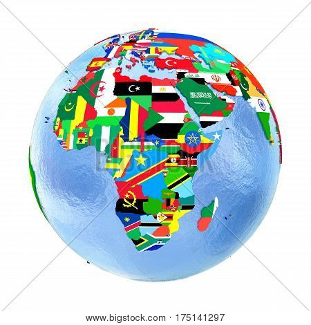 Africa On Political Globe With Flags Isolated On White