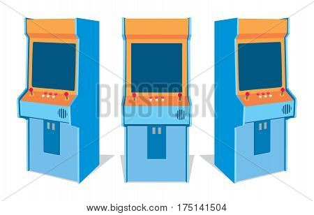 Arcade game machine from different sides vector illustration