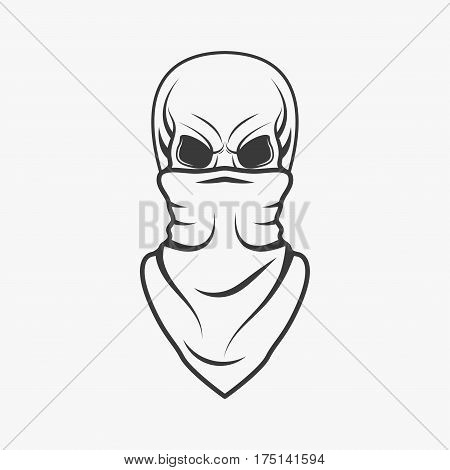 Human skull with bandage on face in monochrome style isolated on white background vector illustration