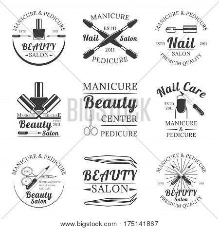 Manicure and pedicure, beauty salon, nail care set of vector vintage emblems, labels, badges and logos in monochrome style on white background
