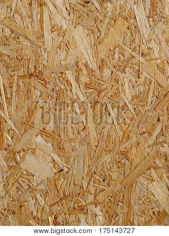 Wooden recycled oriented strand board detail.