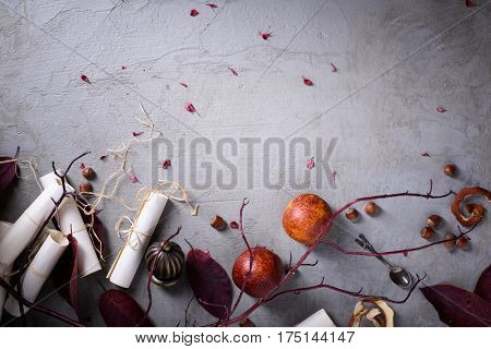 Romantic breakfast, red oranges, hazelnuts and loveletters. Wedding or Valentine's day background.  Top view.