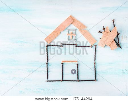 Building House Concept Flat Lay With Screw And Wood