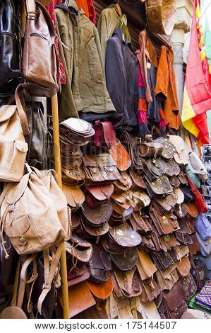 Shop with sale of handbags and leather work in the oriental market of the city of Granada. Andalusia Spain.