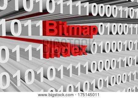bitmap index in the form of binary code, 3D illustration