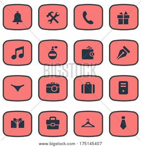 Vector Illustration Set Of Simple Accessories Icons. Elements Digital Camera, Billfold, Present And Other Synonyms Ink, Gratuity And Diplomat.