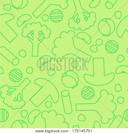 Sliced Frozen Vegetables Seamless Pattern