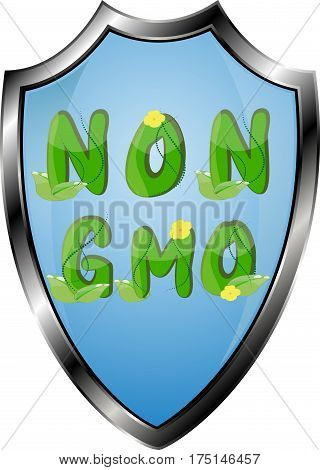 Non GMO or GMO free labels logos to indicate non genetically modified foods or on organic product packaging