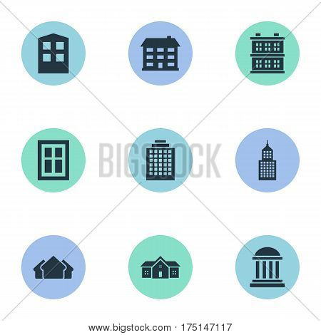 Vector Illustration Set Of Simple Structure Icons. Elements Construction, Block, Residence And Other Synonyms Apartment, Windows And Building.