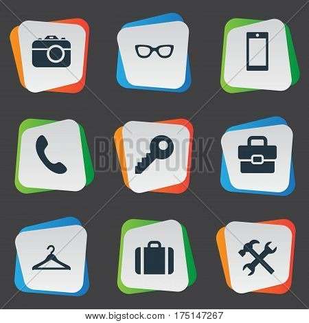 Vector Illustration Set Of Simple Instrument Icons. Elements Digital Camera, Business Bag, Repair And Other Synonyms Sunglasses, Briefcase And Telephone.