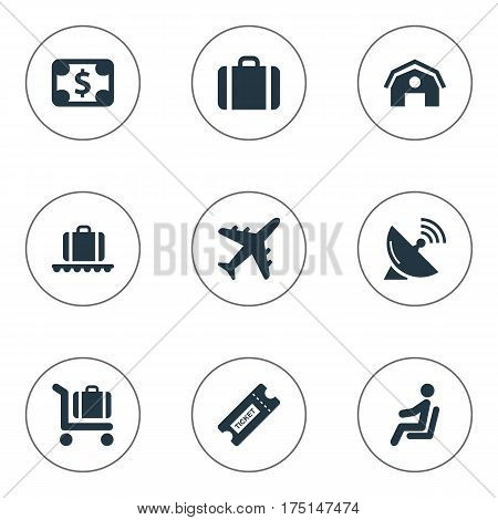 Vector Illustration Set Of Simple Airport Icons. Elements Luggage Carousel, Antenna, Garage And Other Synonyms Sputnik, Baggage And Handbag.