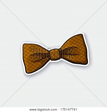 Vector illustration. Hipster checkered retro bow tie. Vintage elegant bowtie. Sticker in cartoon style with contour. Decoration for greeting cards patches prints for clothes badges posters emblems