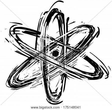 Atom model structure hand drawn vector icon