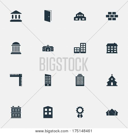 Vector Illustration Set Of Simple Architecture Icons. Elements Length, Construction, Offices And Other Synonyms Door, Offices And Hut.
