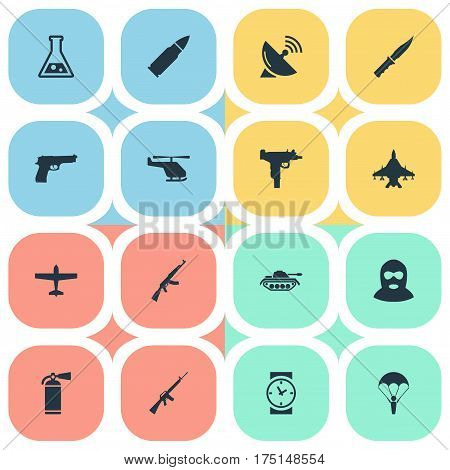 Vector Illustration Set Of Simple Army Icons. Elements Extinguisher, Air Bomber, Ammunition And Other Synonyms Support, Flask And Time.