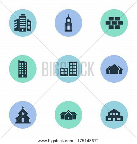 Vector Illustration Set Of Simple Construction Icons. Elements Floor, Residence, Flat And Other Synonyms Edifice, Superstructure And Residential.