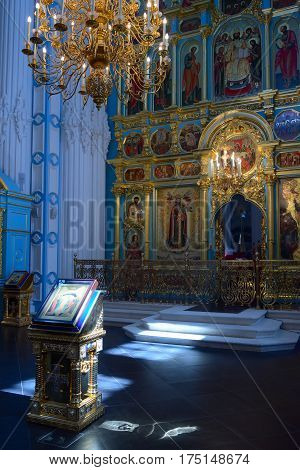 Istra Russia - May 5 2016: Icon Resurrection before The altar and the iconostasis of the Resurrection Cathedral in New Jerusalem Monastery.