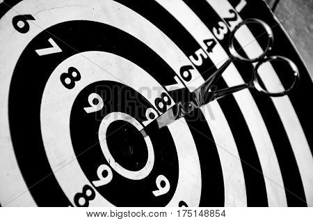 Scissors into the target dart board sport and game