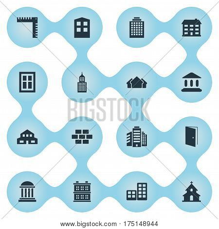 Vector Illustration Set Of Simple Architecture Icons. Elements Block, Shelter, Superstructure And Other Synonyms Domicile, Edifice And Door.