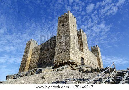 Castle in Sadaba with beauty sky in Saragossa Aragon Spain