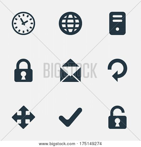 Vector Illustration Set Of Simple Application Icons. Elements Watch, Web, Lock And Other Synonyms Rotate, Padlock And Message.