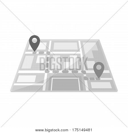 Map with the route taxi movement.Taxi station navigator for conveying passengers. Taxi station single icon in monochrome style vector symbol stock web illustration
