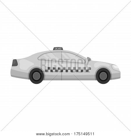 Yellow taxi car in profile.Transport taxi station for passengers. Taxi station single icon in monochrome style vector symbol stock web illustration