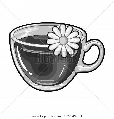 Glass mug with tea useful.Vegetarian therapeutic chamomile tea.Vegetarian Dishes single icon in monochrome style vector symbol stock web illustration.