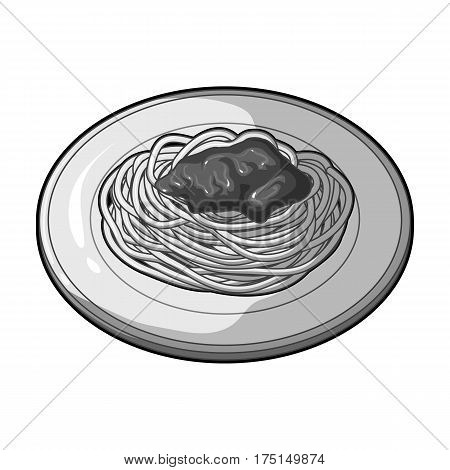 The dish in which wheat spaghetti with red sauce.Main dish vegetarian.Vegetarian Dishes single icon in monochrome style vector symbol stock web illustration.