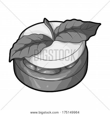 Sandwich vegetarian cuisine.Hamburger tomato and cheese with a leaf of mint.Vegetarian Dishes single icon in monochrome style vector symbol stock web illustration.