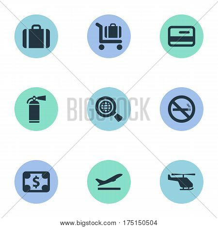 Vector Illustration Set Of Simple Airport Icons. Elements Global Research, Currency, Baggage Cart And Other Synonyms Dollar, Money And Credit.