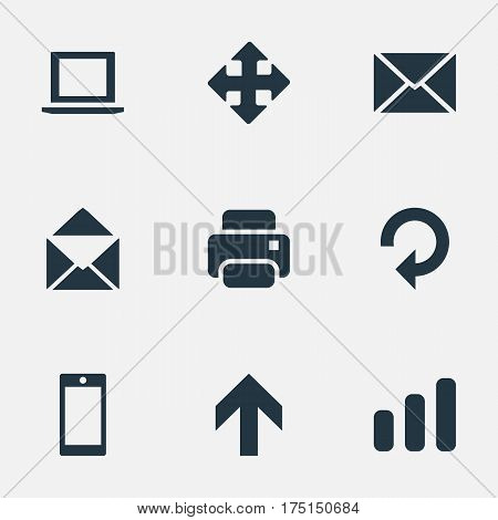 Vector Illustration Set Of Simple Apps Icons. Elements Printout, Smartphone, Refresh And Other Synonyms Envelope, Cellphone And Printout.