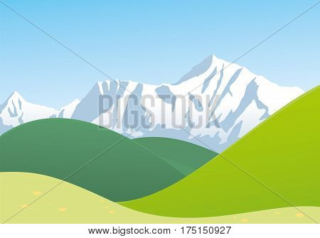 Landscape with mountain and hills vector illustration
