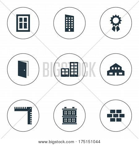 Vector Illustration Set Of Simple Architecture Icons. Elements Residential, Length, Floor And Other Synonyms Downtown, Medal And Scale.