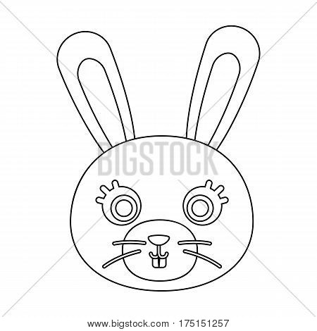 Rabbit muzzle icon in outline design isolated on white background. Animal muzzle symbol stock vector illustration.