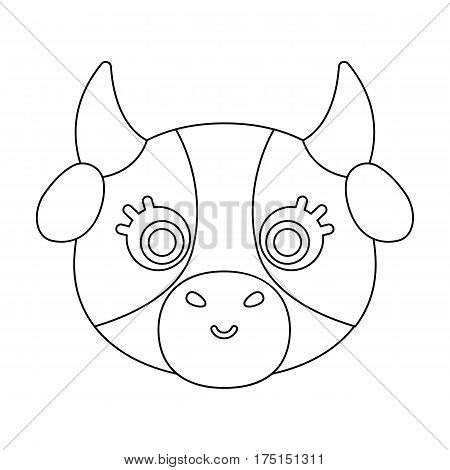 Cow muzzle icon in outline design isolated on white background. Animal muzzle symbol stock vector illustration.