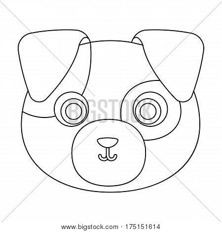 Dog muzzle icon in outline design isolated on white background. Animal muzzle symbol stock vector illustration.