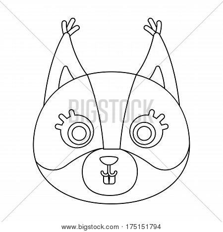 Squirrel muzzle icon in outline design isolated on white background. Animal muzzle symbol stock vector illustration.