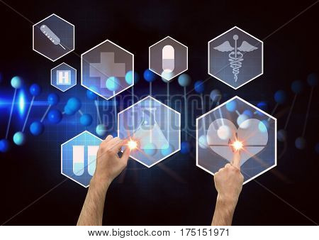 Digital composite image of man touching medical interface design