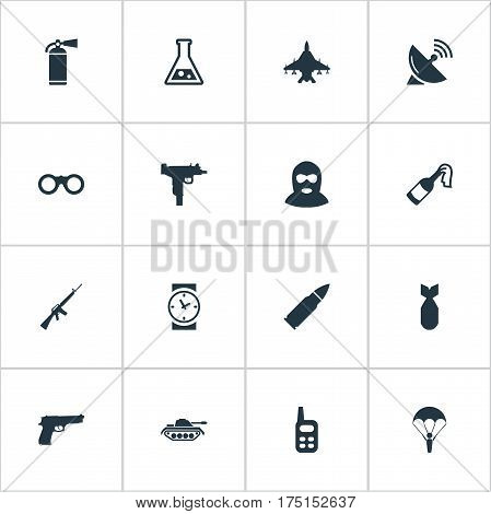 Vector Illustration Set Of Simple War Icons. Elements Molotov, Watch, Terrorist And Other Synonyms Clock, Communication And Gun.
