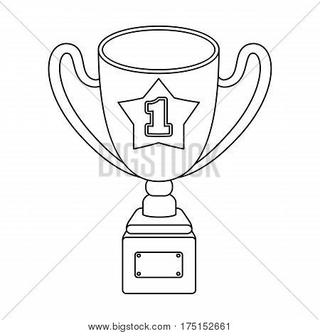 Gold Cup of the winner on a wooden stand with the inscription.The reward for first place.Awards and trophies single icon in outline style vector symbol stock web illustration.