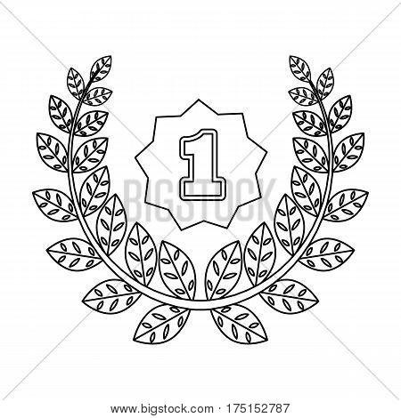 A Golden wreath from the metal.The reward for first place.Awards and trophies single icon in outline style vector symbol stock web illustration.