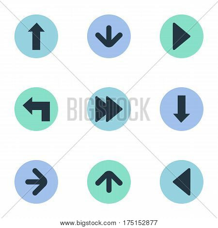 Vector Illustration Set Of Simple Indicator Icons. Elements Right Direction , Pointer , Left Landmark Synonyms Upward, Pointing And Ahead.