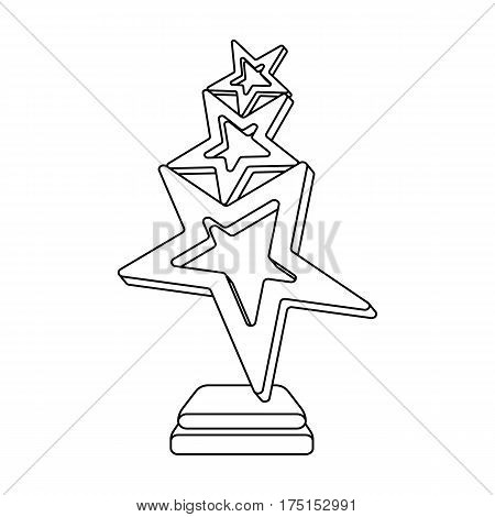 The reward in the form of gold stars on a stand. The award winner of the singing contest.Awards and trophies single icon in outline style vector symbol stock web illustration.